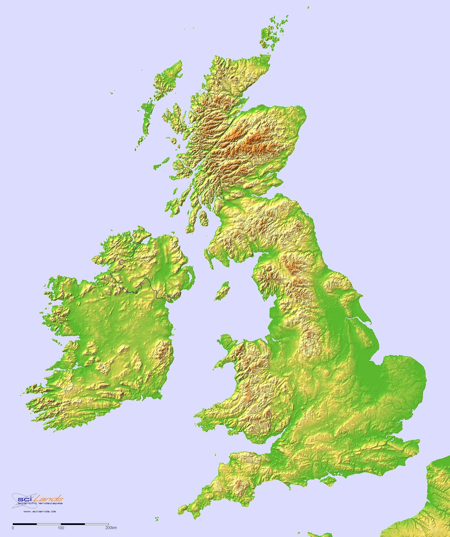Altitude Map Uk Altitude map UK   Map of UK elevation (Northern Europe   Europe)