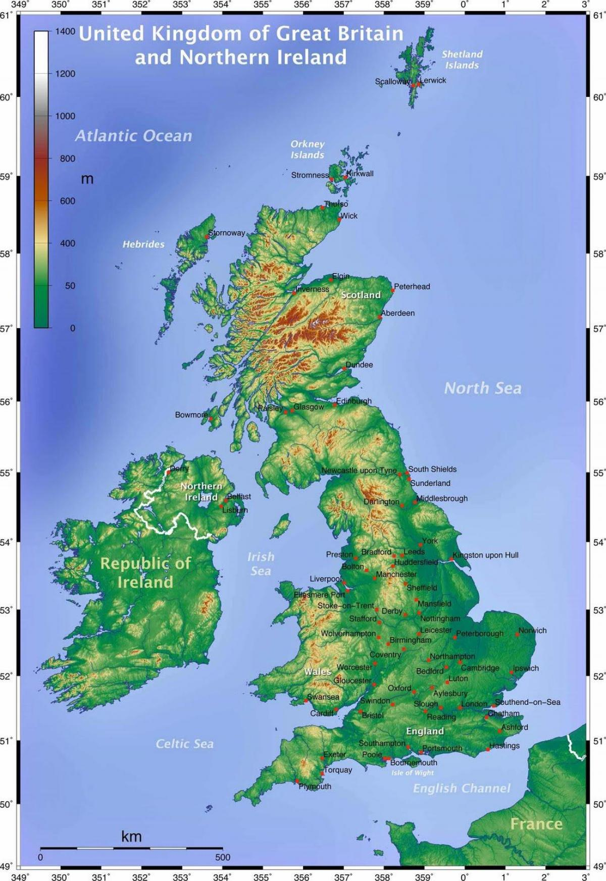 Picture of: Geographical Map Of Uk Geographical Map Of Great Britain Northern Europe Europe