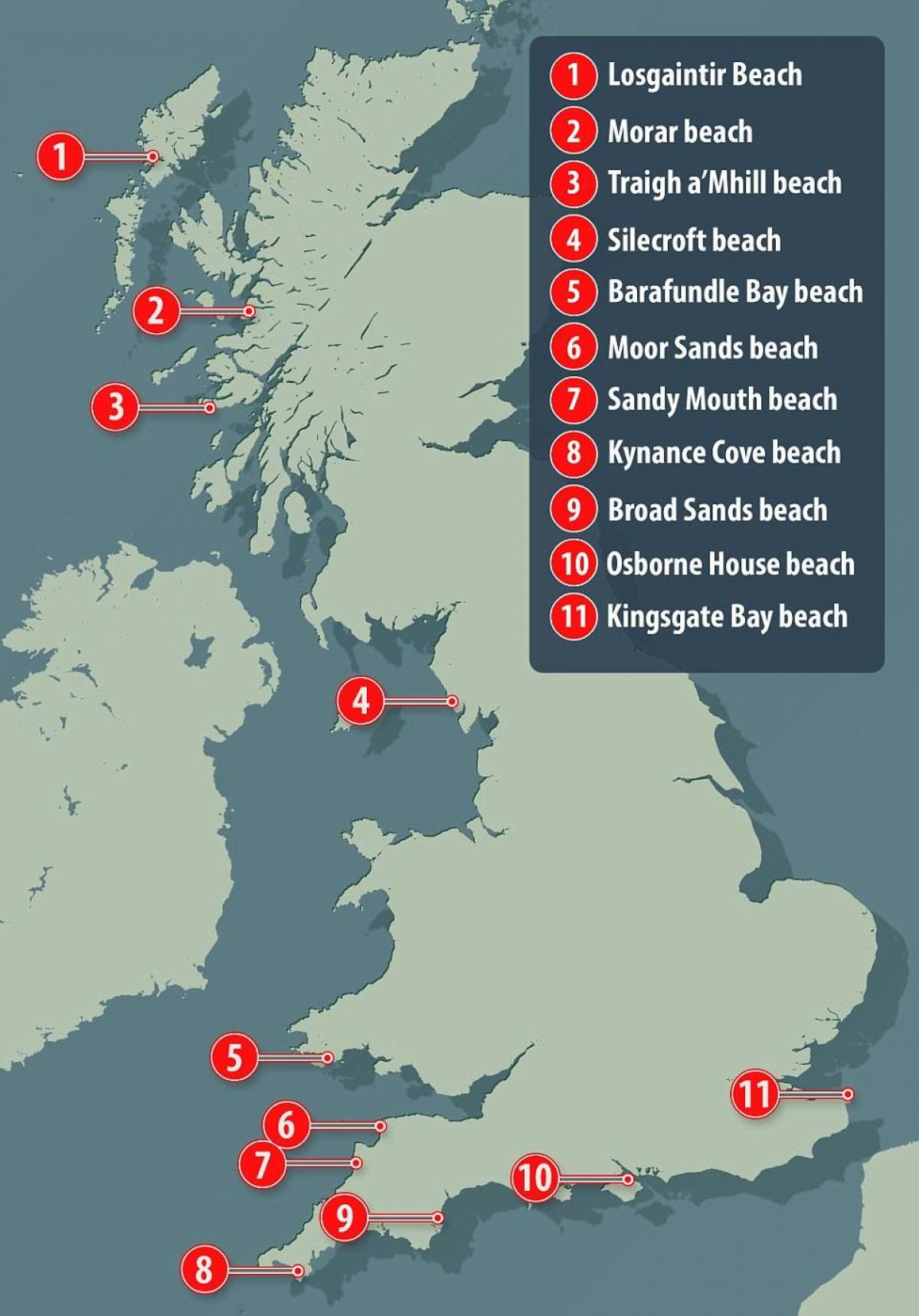 best beaches uk map
