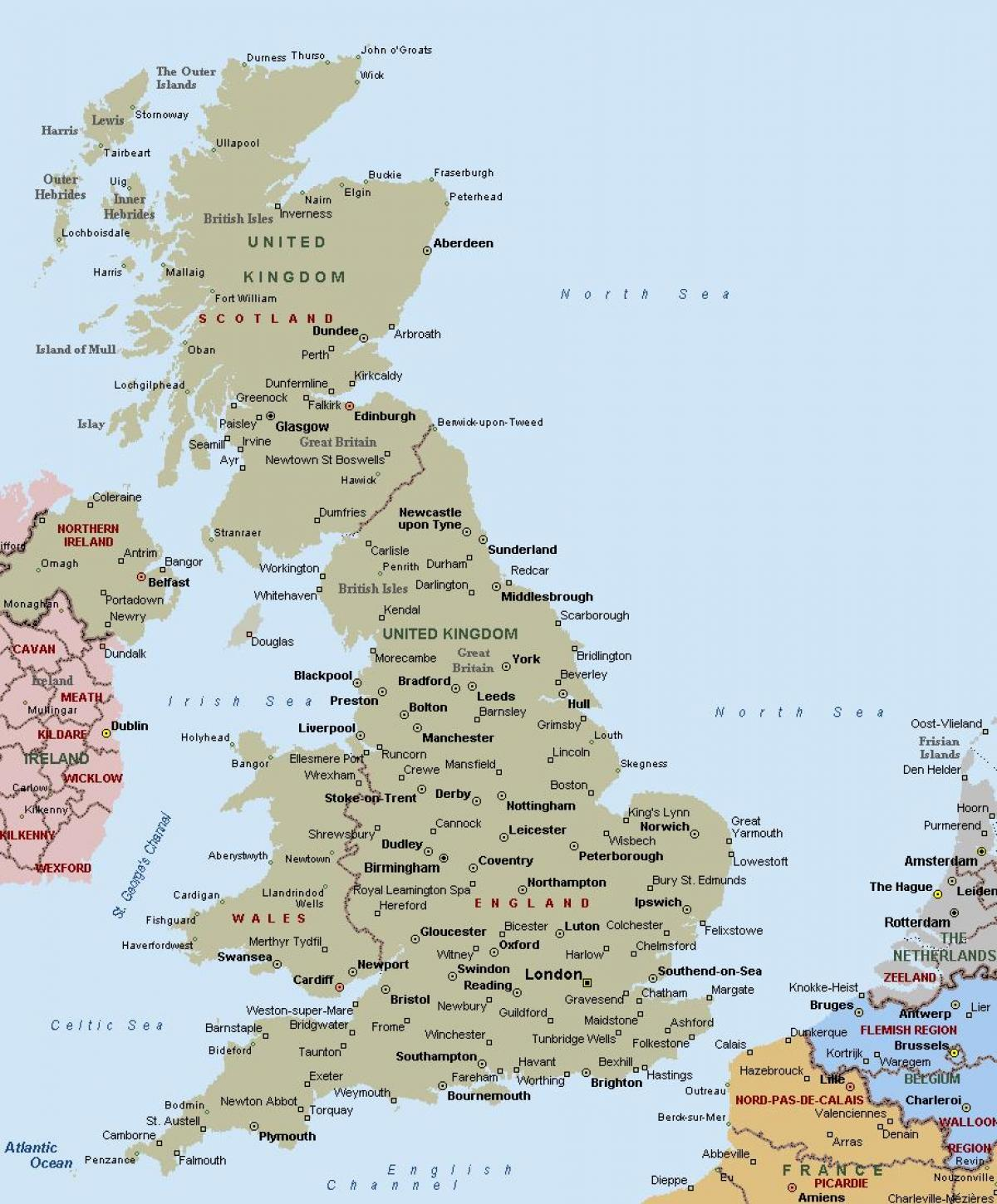 Map Of England Showing Cities.Map Of Great Britain Showing Towns And Cities Map Of Great Britain