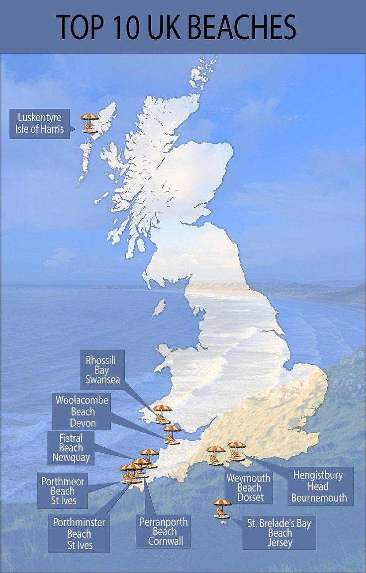 map of uk beach