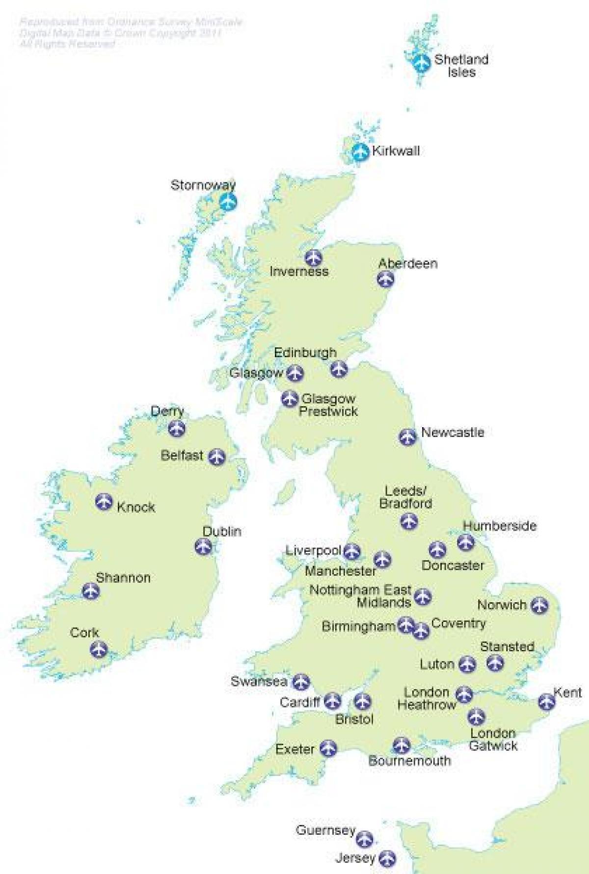 UK international airports map - Map of UK international airports ...