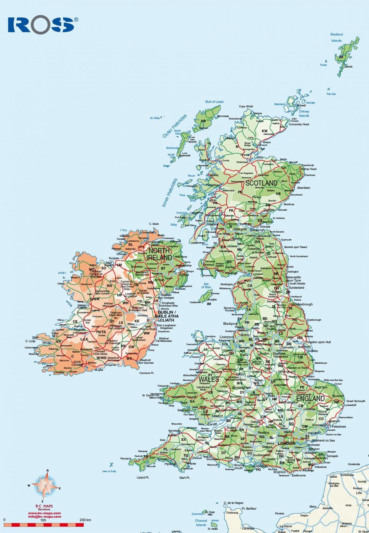 UK road map pdf - Free UK road map pdf (Northern Europe
