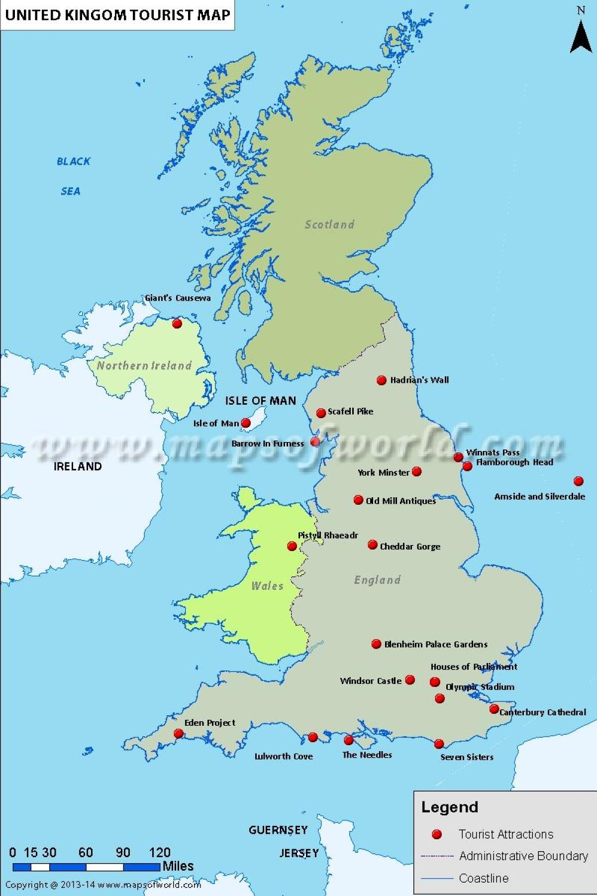 UK tourist map with attractions United Kingdom tourist attractions